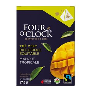 Four O'Clock thé vert mangue tropical bio / équit (15 / bte)